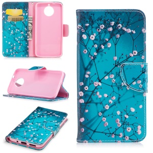 Pattern Printing PU Leather Stand Case for Motorola Moto G5S Plus - Tree with Flowers
