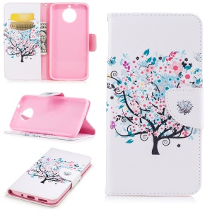 Pattern Printing Wallet Leather Case with Stand for Motorola Moto G6 Plus - Flowered Tree