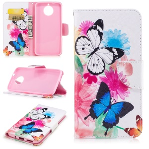 Pattern Printing Wallet Leather Cell Protective Case for Motorola Moto G6 Plus - Butterfly and Flowers