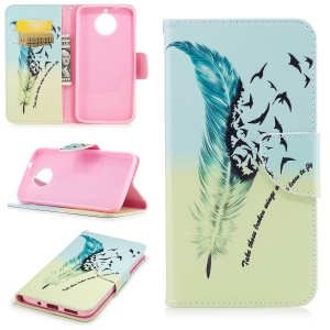Pattern Printing Wallet Leather Cover Shell for Motorola Moto G6 Plus - Feather Pattern