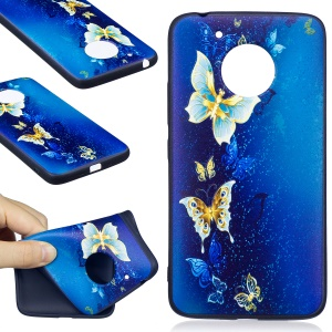 Embossing Pattern Matte Soft TPU Cover for Motorola Moto G5 - Blue Butterflies