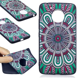 Embossing Pattern Matte Soft TPU Casing Cover for Motorola Moto G5 - Abstract Floral Pattern