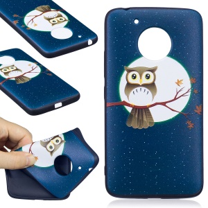 Embossing Pattern Matte Soft TPU Phone Case for Motorola Moto G5 - Moon and Owl