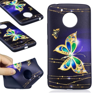 Embossing Pattern Matte Soft TPU Phone Casing for Motorola Moto G5 - Beautiful Butterfly