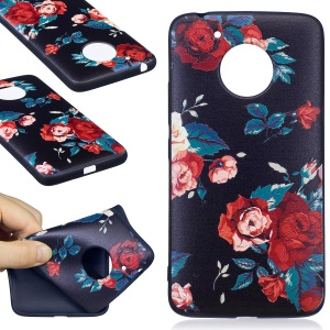 Embossing Pattern Matte Soft TPU Protection Case for Motorola Moto G5 - Roses