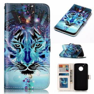Embossed Pattern Flip Cover Case for Motorola Moto G5 - Tiger