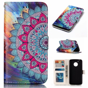 Embossed Pattern PU Leather Protective Case for Motorola Moto G5 - Flower