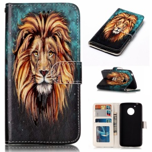 Embossed Pattern PU Leather Mobile Phone Cover for Motorola Moto G5 - Lion