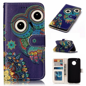 Embossed Pattern PU Leather Cell Phone Shell for Motorola Moto G5 - Owl