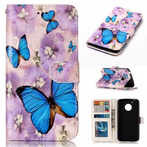 Embossed Pattern PU Leather Folio Phone Casing for Motorola Moto G5 - Butterfly