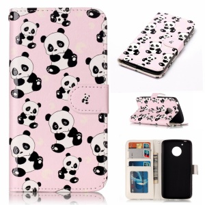 For Motorola Moto G5 Embossed Pattern Leather Protective Phone Case - Panda