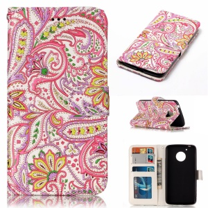 For Motorola Moto G5 Embossed Pattern PU Leather Protective Case - Abstract Leaves and Flower