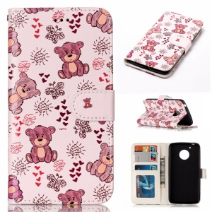 Embossed Pattern PU Leather Magnetic Mobile Casing for Motorola Moto G5 - Bear