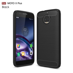 For Motorola Moto X Plus Carbon Fiber Texture Brushed Mobile TPU Shell - Black