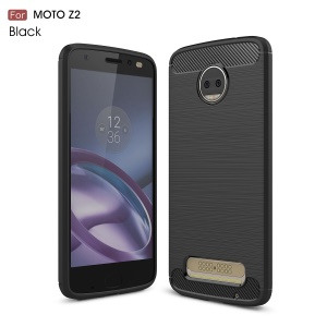 For Motorola Moto Z2 Carbon Fiber Texture Brushed TPU Phone Casing - Black