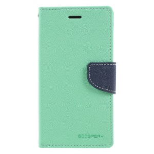 MERCURY GOOSPERY Fancy Diary Leather Folio Flip Casing Cover for Motorola Moto G5 Plus - Cyan