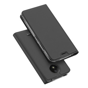 DUX DUCIS Skin Pro Series Leather Cell Phone Casing with Card Slot for Lenovo Moto C with Stand - Dark Grey
