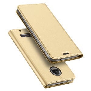 DUX DUCIS Skin Pro Series Card Slot Stand Leather Cover for Motorola Moto Z2 Force - Gold