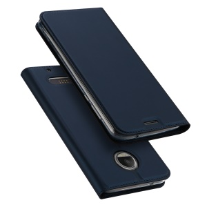 DUX DUCIS Skin Pro Series Card Slot Stand Leather Shell for Motorola Moto Z2 Force - Dark Blue