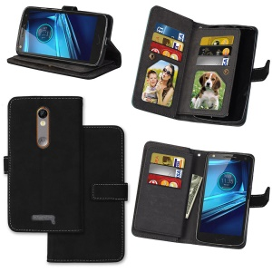 Matte Skin Leather Stand Folio Case with 9 Card Holders for Motorola Moto X Force X3 - Black