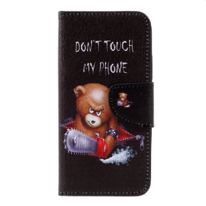 Pattern Printing Wallet Leather Stand Cell Phone Cover for Motorola Moto C - Angry Bear and Warning Word