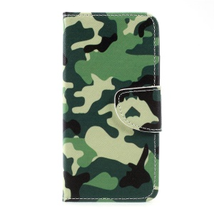 Pattern Printing Wallet Leather Cover with Stand for Motorola Moto C - Camouflage