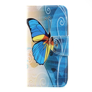 Pattern Printing Wallet Leather Stand Shell Case for Motorola Moto C - Blue Butterfly