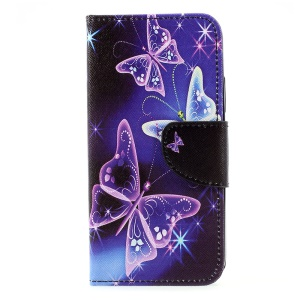 Pattern Printing Wallet Leather Stand Folio Shell Case for Motorola Moto C - Vivid Butterflies