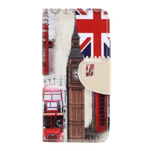 For Motorola Moto C Pattern Printing Wallet Leather Stand Case - London Elements