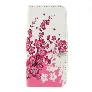 Pattern Printing Wallet Leather Stand Mobile Casing Accessory for Motorola Moto C - Plum Blossom