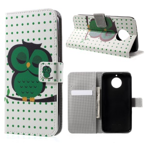 Patterned PU Leather Wallet Stand Protective Phone Shell for Motorola Moto G5S - A Sleeping Owl