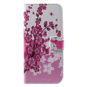 Patterned PU Leather Wallet Stand Protective Phone Case for Motorola Moto G6 - Peach Flower