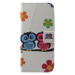 Patterned PU Leather Wallet Stand Protective Phone Cover for Motorola Moto G6 - Owl Couple