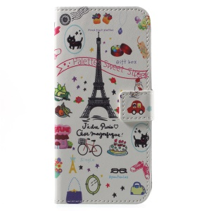 Patterned PU Leather Wallet Stand Protective Phone Casing for Motorola Moto G6 - Palettes Sweet Street