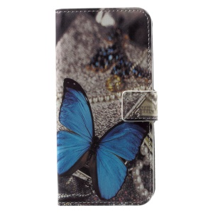 Patterned PU Leather Wallet Protective Phone Shell with Stand for Motorola Moto G6 - Butterfly