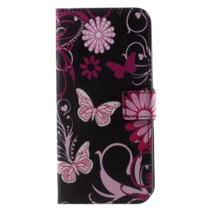 Patterned PU Leather Wallet Protective Phone Case with Stand for Motorola Moto G6 - Pink Butterfly and Flower