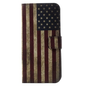 Patterned PU Leather Wallet Magnetic Stand Protective Phone Case for Motorola Moto G6 - Flag of America