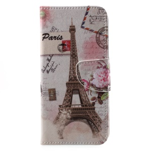 Patterned PU Leather Wallet Magnetic Stand Protective Phone Cover for Motorola Moto G6 - Paris Eiffel Tower