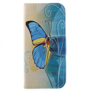 Patterned PU Leather Wallet Stand Phone Cover for Motorola Moto G6 - Blue and Yellow Butterfly