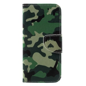 Patterned PU Leather Wallet Stand Protective Shell for Motorola Moto G6 - Camouflage Cloth