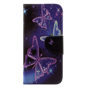Patterned PU Leather Wallet Stand Protective Case for Motorola Moto G6 - Glitter Butterfly