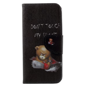 Patterned PU Leather Wallet Flip Stand Protective Phone Shell for Motorola Moto G6 - Bear with Electric Saw