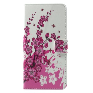 Patterned PU Leather Wallet Stand Protective Phone Case for Motorola Moto G5S Plus - Peach Flower