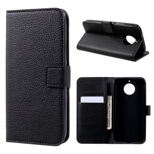 Litchi Texture PU Leather Wallet Stand Phone Case for Motorola Moto G5S - Black