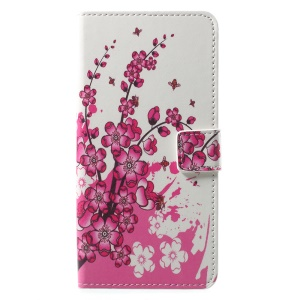 Patterned PU Leather Wallet Stand Protective Phone Casing for Motorola Moto E4 Plus EU Version - Peach Flower