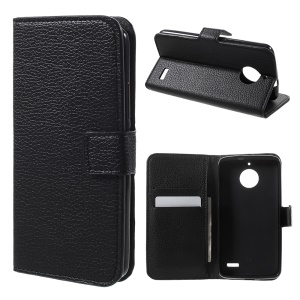 For Motorola Moto E4 EU Version Litchi Skin PU Leather Wallet Stand Phone Case - Black