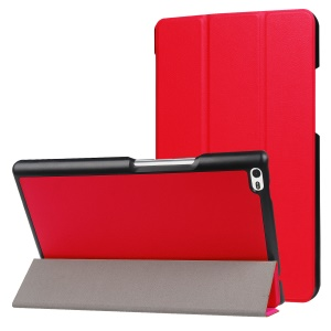 Tri-fold Stand PU Leather Flip Shell for Lenovo Tab 4 8 - Red
