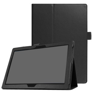 Universal Litchi Grain Leather Stand Shell Case for Lenovo Tab 4 10 Plus / Tab 4 10 - Black