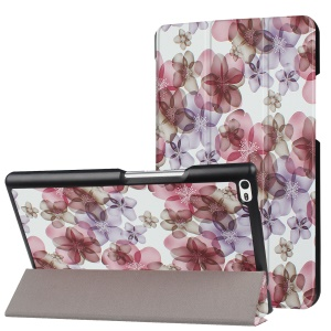 For Lenovo Tab4 8 Tri-fold Patterned Stand Flip Leather Cover - Beautiful Flowers