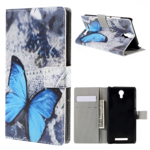 Leather Stand Cover with Card Slots for Xiaomi Redmi Note 2 - Blue Butterfly